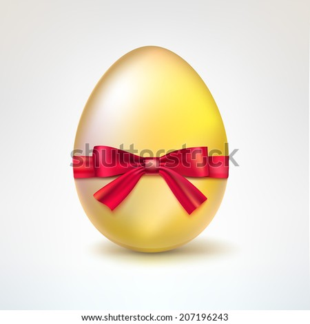 Golden egg with red bow. Vector illustration eps10 - stock vector