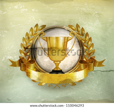 Golden Emblem old-style vector - stock vector