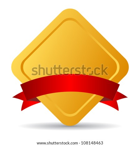 Golden emblem with ribbon, vector illustration - stock vector