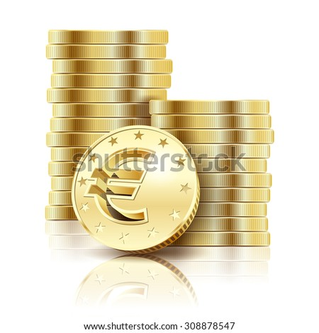 Golden Euro coins isolated on a white background. Illustration Vector EPS10. - stock vector