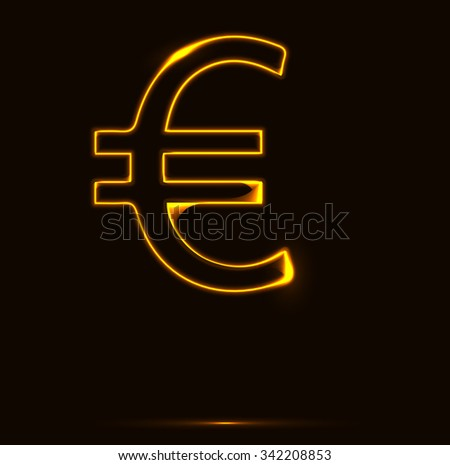 Golden euro sign vector illustration. Melting gold euro sign, currency of the European Union - stock vector