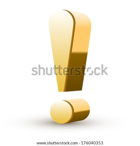 golden exclamation mark isolated white background - stock vector