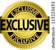 Golden exclusive label, vector illustration - stock vector