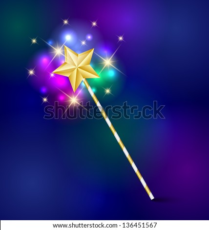 Golden fairy tale magic wand with glittering effect - stock vector