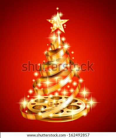 Golden film strip christmas tree, EPS 10, contains transparency. - stock vector