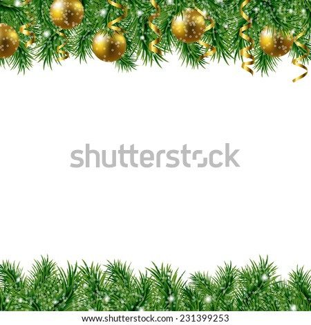 Golden Fir Tree Frame With Gradient Mesh, Vector Illustration - stock vector
