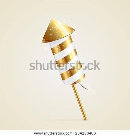 Golden fireworks rocket with sparkling stars on beige background, illustration. - stock vector