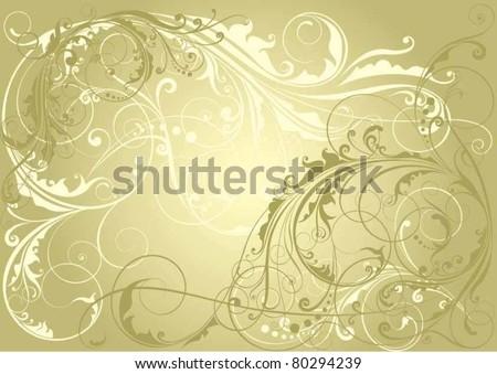 Golden floral background - stock vector