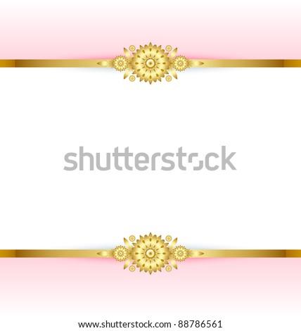 Golden floral decoration background - stock vector