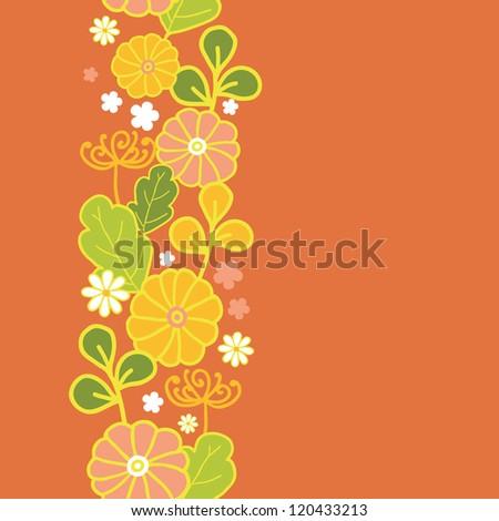Golden flowers vertical seamless pattern background border - stock vector