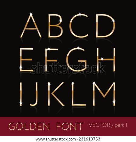 Golden font set, elegant thin letters on black background, part 1 - stock vector