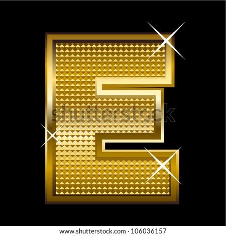 Golden font type letter E - stock vector
