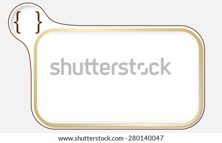 Golden frame for your text and square brackets - stock vector
