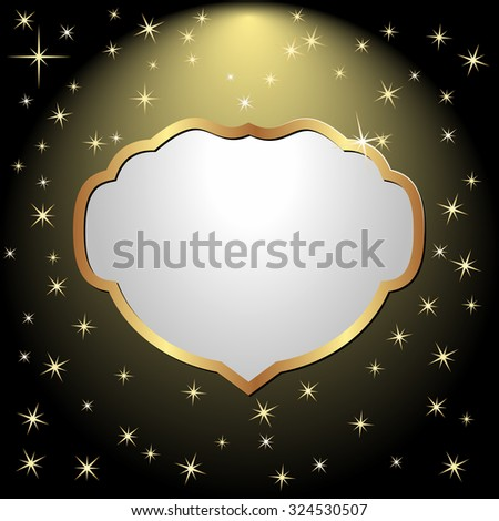 golden frame on black background with stars - stock vector