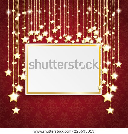 Golden frame on the red background. Eps 10 vector file. - stock vector