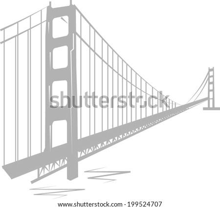 Golden Gate Bridge vector - stock vector