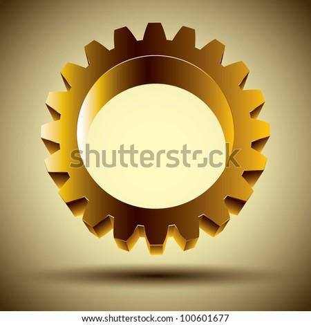 Golden gear icon, 3d vector design element. - stock vector