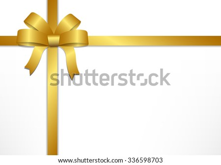 Golden gift bows and ribbons on white gift box background , vector illustration - stock vector