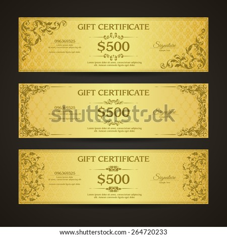 Golden gift certificate banners set  VIP Vintage ornamental template with damask pattern and decorative frame. - stock vector