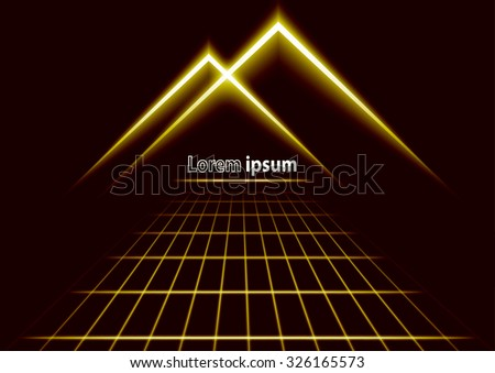 Golden glitter abstract futuristic perspective background with simple mountain logo. Vector illustration - stock vector