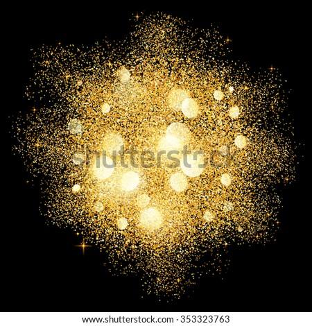 Golden glitter vector texture splash on black background - stock vector