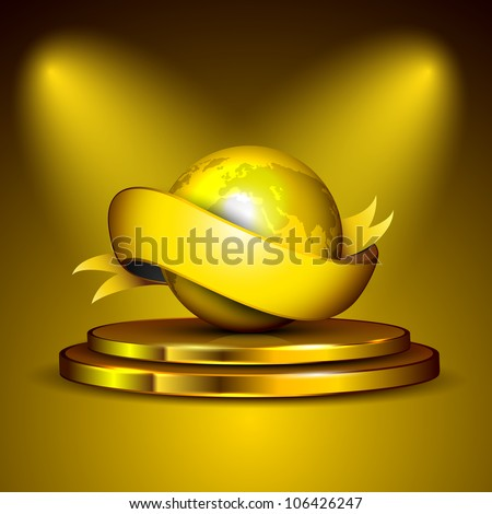 Golden globe and ribbon on golden stage. EPS 10 - stock vector
