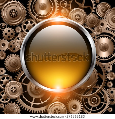 Golden glossy button on gears background, vector illustration. - stock vector