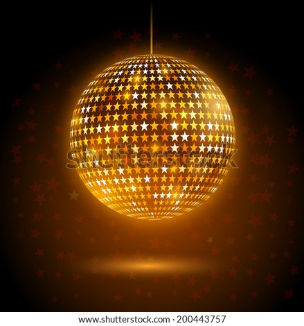 Golden glowing disco ball made of star shapes. Vector illustration. - stock vector