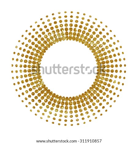 Golden halftone element with place for text. - stock vector