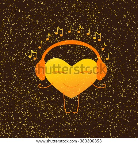 Golden heart character with closed eyes and smile in orange headphones with note around it isolated on brown background with golden dotes. Greeting card / party invitation design. Music fan concept - stock vector