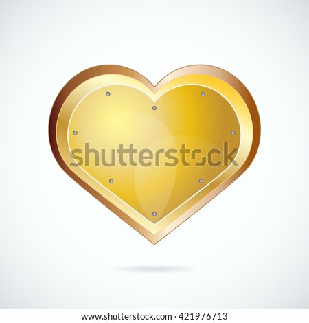 Golden heart-shaped shield with little shadow. Vector illustration for your graphic design. - stock vector