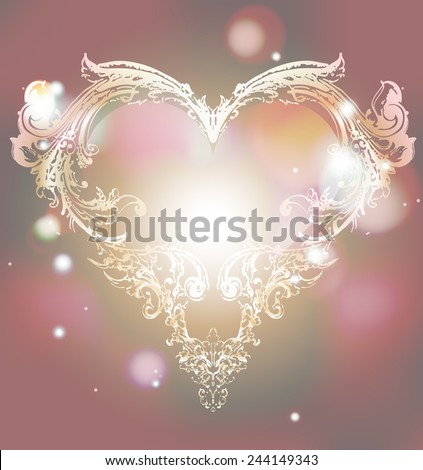 Golden heart with light background - stock vector