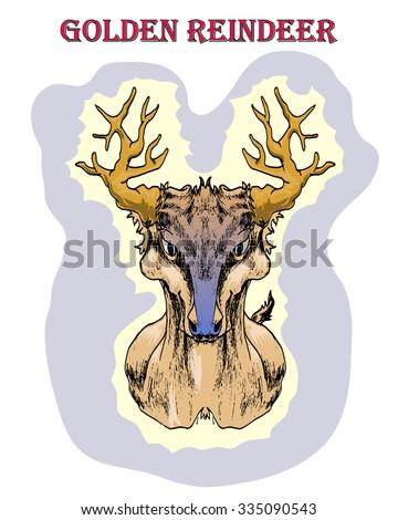 golden horn dear isolated on white hand draw vector illustration - stock vector