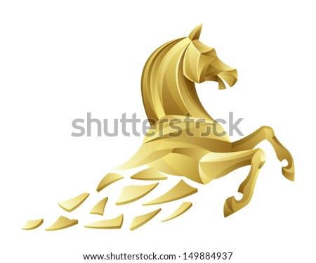 Golden horse - stock vector