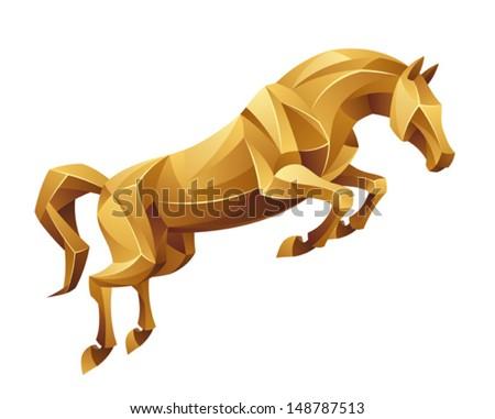 Golden horse jumping - stock vector