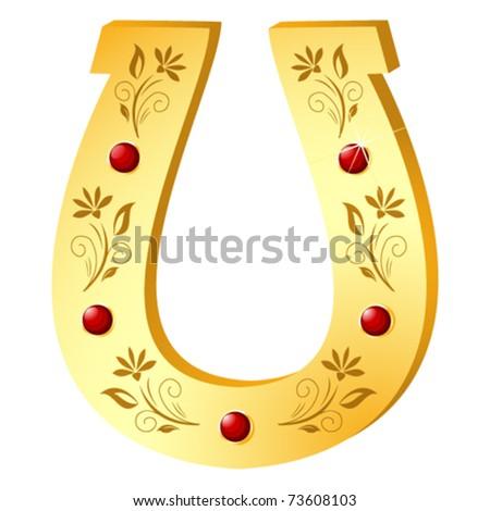 Golden Horseshoe for luck - stock vector