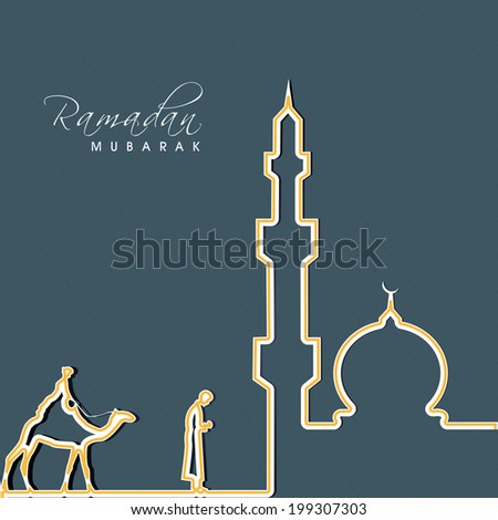 Golden Iineart illustration of young camel rider in traditional arabic clothes praying near the mosque in the month of Ramadan Mubarak.  - stock vector