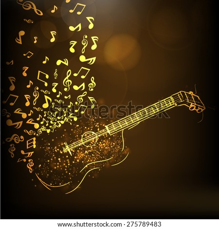 Golden illustration of a guitar with musical notes on shiny brown background. - stock vector