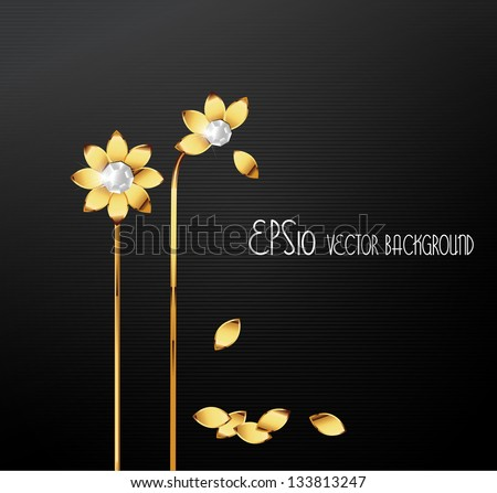 Golden illustration of flower. Element for design. - stock vector