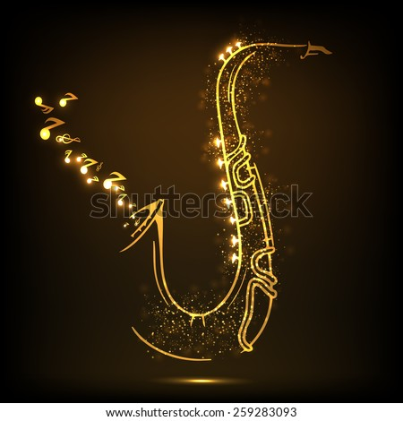 Golden illustration of musical notes coming out from saxophone on shiny brown background. - stock vector