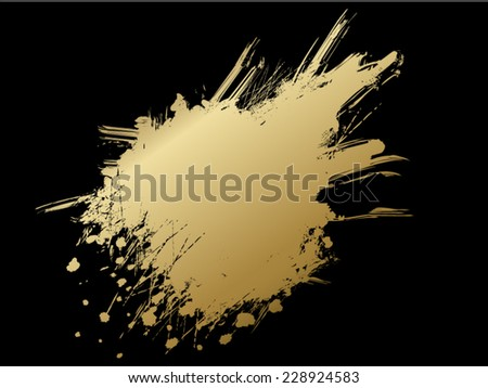 Golden inky blot - stock vector