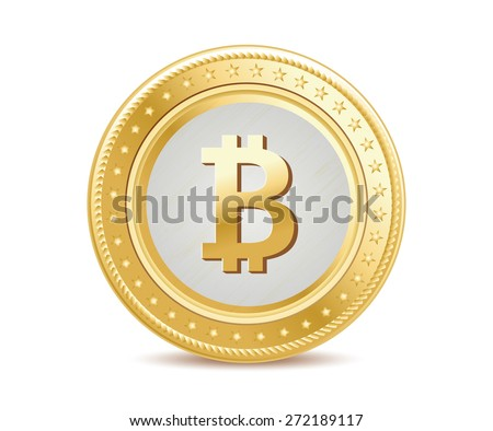 golden isolated bitcoin coin front view - stock vector