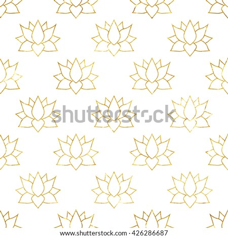 Golden Japan lotus abstract background seamless pattern. Vector Illustration - stock vector