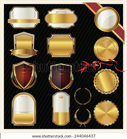 Golden labels collection - stock vector