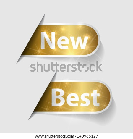 Golden labels with word New and Best - stock vector
