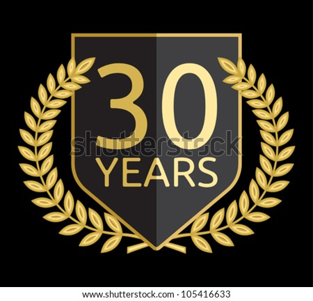 Golden laurel wreath 30 years - stock vector