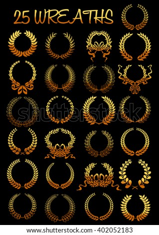 Golden laurel wreaths heraldic elements composed of gold branches tied with twisted ribbons and bows. Heraldry and coat of arms, sporting achievement award and anniversary, certificate design usage  - stock vector