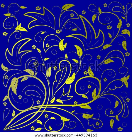 Golden leaves with abstract swirls on a blue background. Can be used as a background, decor, decoupage, textile, invitation. - stock vector