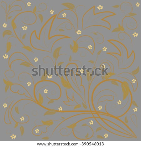 Golden leaves with abstract swirls on a gray background. Can be used as a background, decor, decoupage, textile, invitation. - stock vector