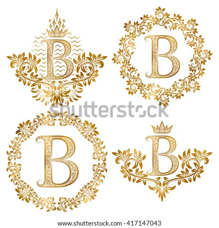 Golden letter B vintage monograms set. Heraldic coats of arms and round frames. - stock vector